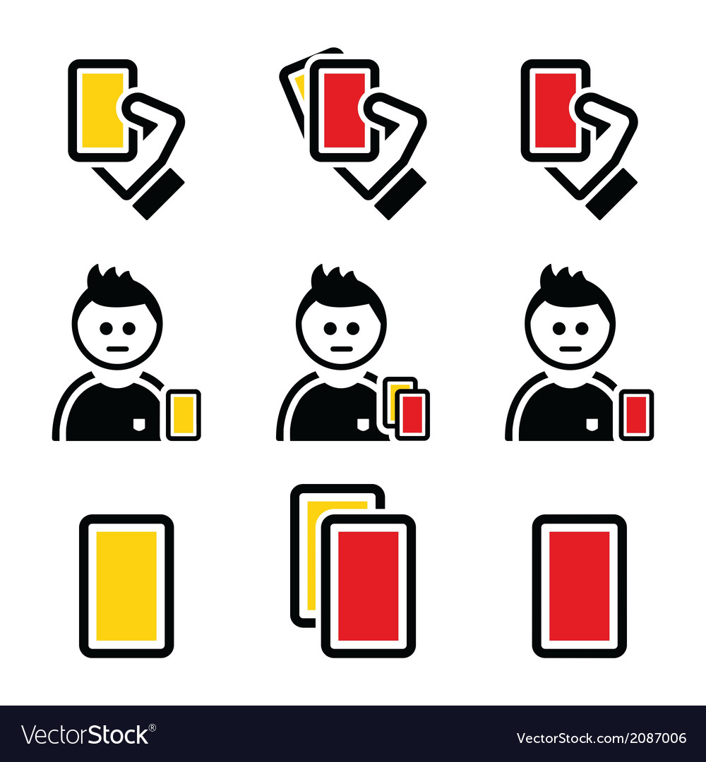 Football or soccer yellow and red card icons set vector | Price: 1 Credit (USD $1)