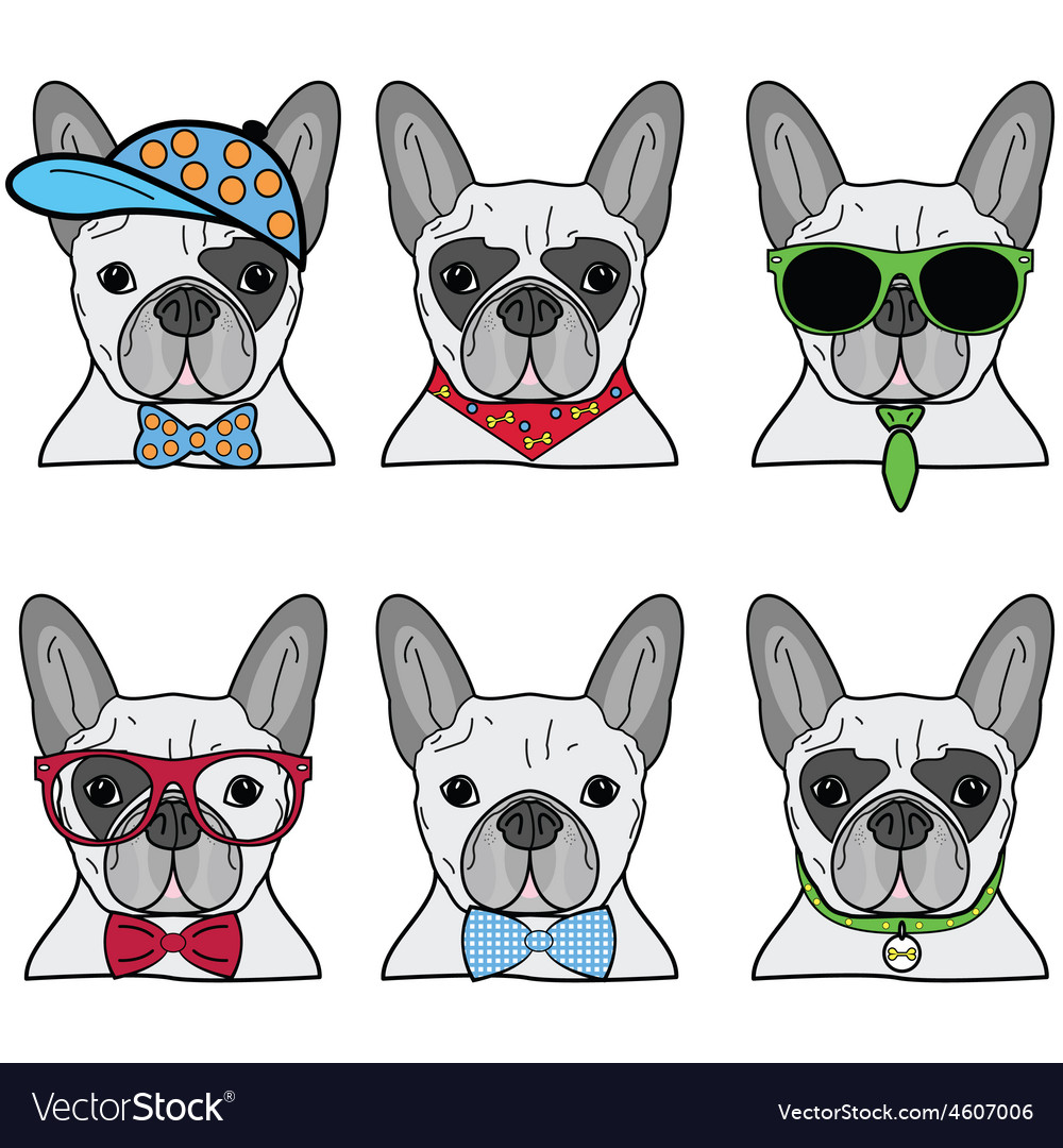 French bulldog icons ii vector | Price: 1 Credit (USD $1)