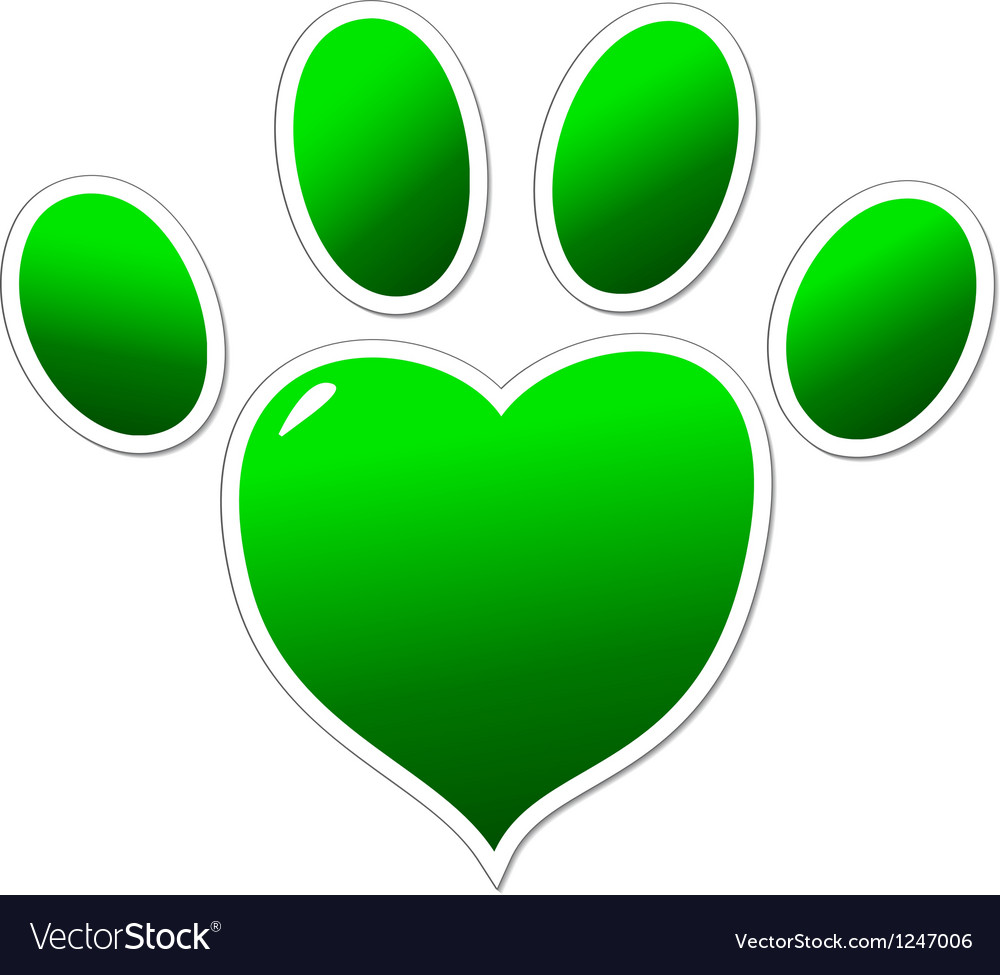 Green paw of an animal vector | Price: 1 Credit (USD $1)