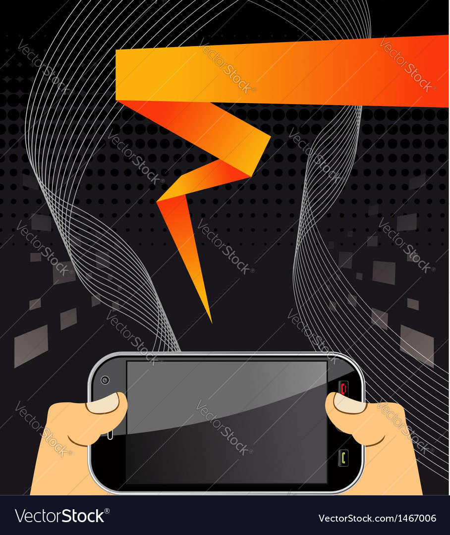 Hands holding a smart phone vector | Price: 1 Credit (USD $1)