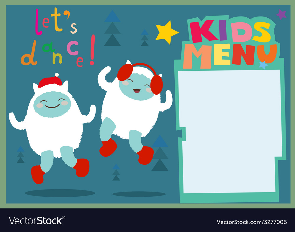 Kids menu a3 format holiday with dancing yeti vector | Price: 1 Credit (USD $1)