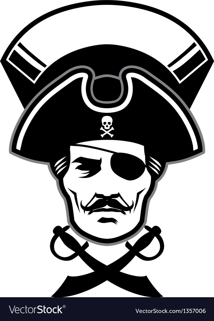 Pirate captain head mascot vector | Price: 1 Credit (USD $1)