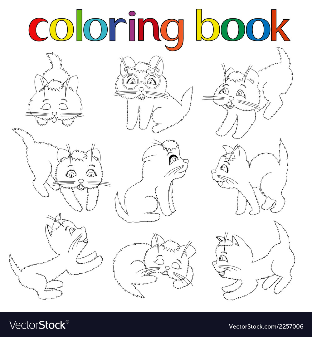 Set of nine playful kittens for coloring book vector | Price: 1 Credit (USD $1)