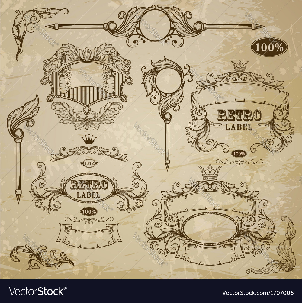 Set of vintage elements ribbons and emblem vector | Price: 1 Credit (USD $1)