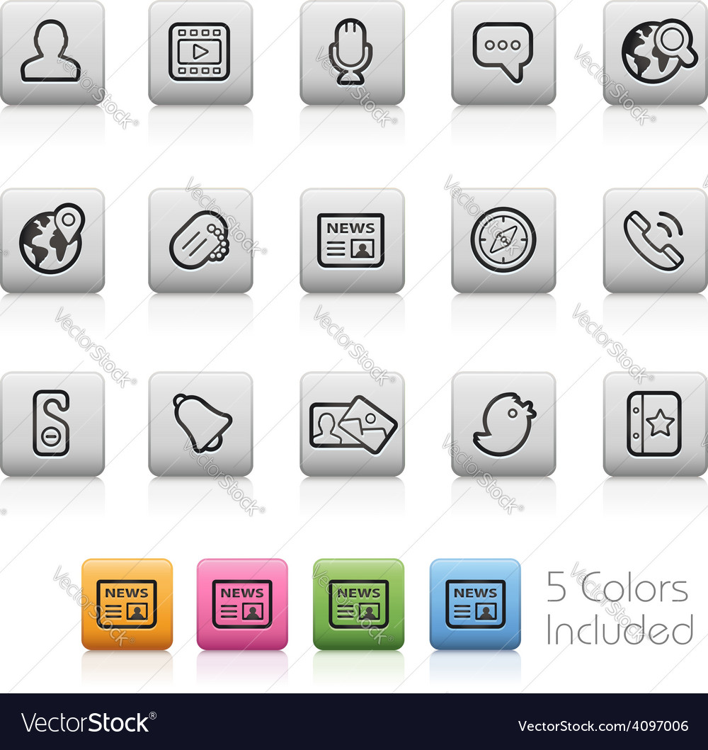 Social communications icons vector | Price: 1 Credit (USD $1)