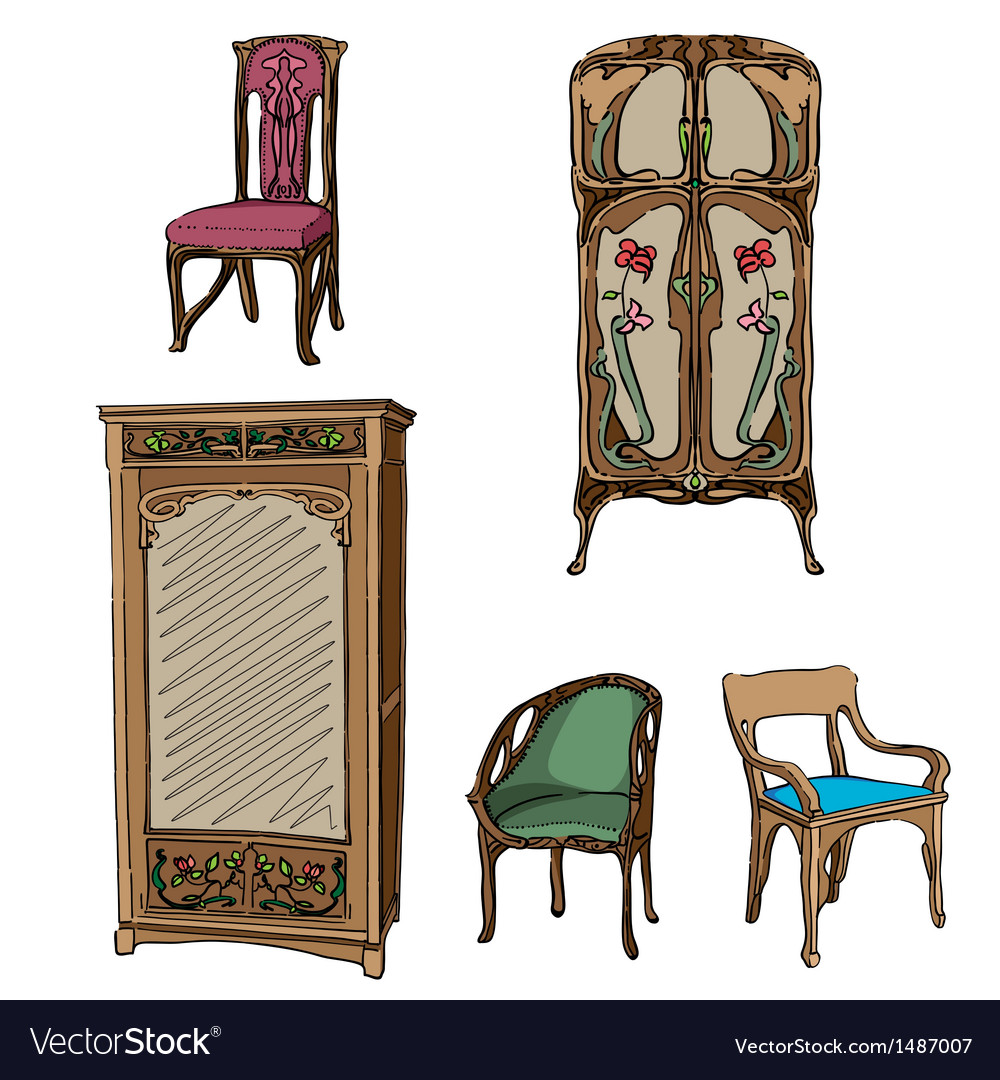 Art nouveau furniture vector | Price: 1 Credit (USD $1)