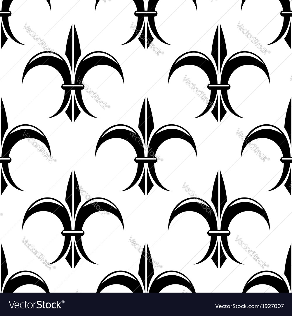 Black and white fleur de lys seamless pattern vector | Price: 1 Credit (USD $1)
