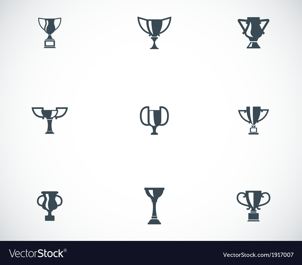 Black trophy icons set vector | Price: 1 Credit (USD $1)