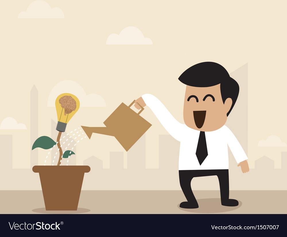 Businessman watering a light bulb idea plant vector | Price: 1 Credit (USD $1)