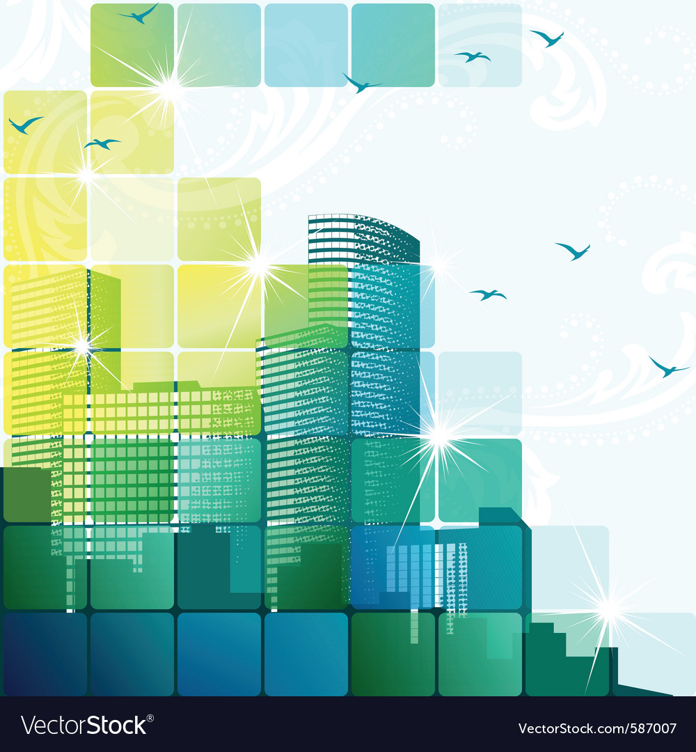 Dynamic cityscape in green vector | Price: 1 Credit (USD $1)