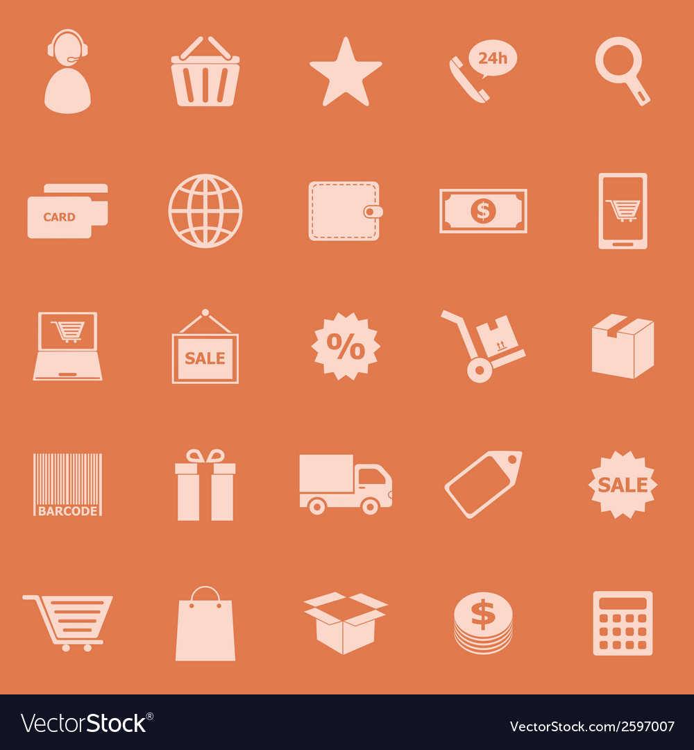 E commerce color icons on orange background vector | Price: 1 Credit (USD $1)