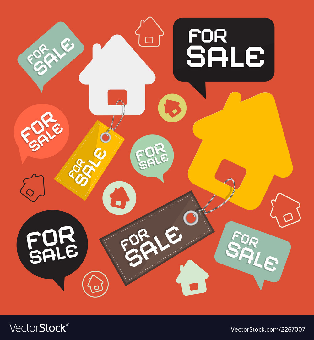 House for sale retro paper icons set vector | Price: 1 Credit (USD $1)