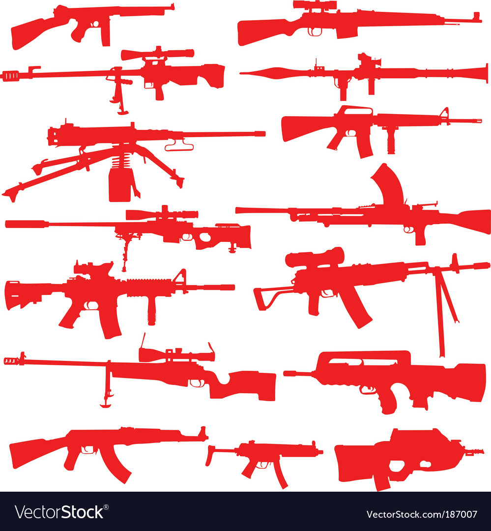 Rifles and assualt weapons vector | Price: 1 Credit (USD $1)