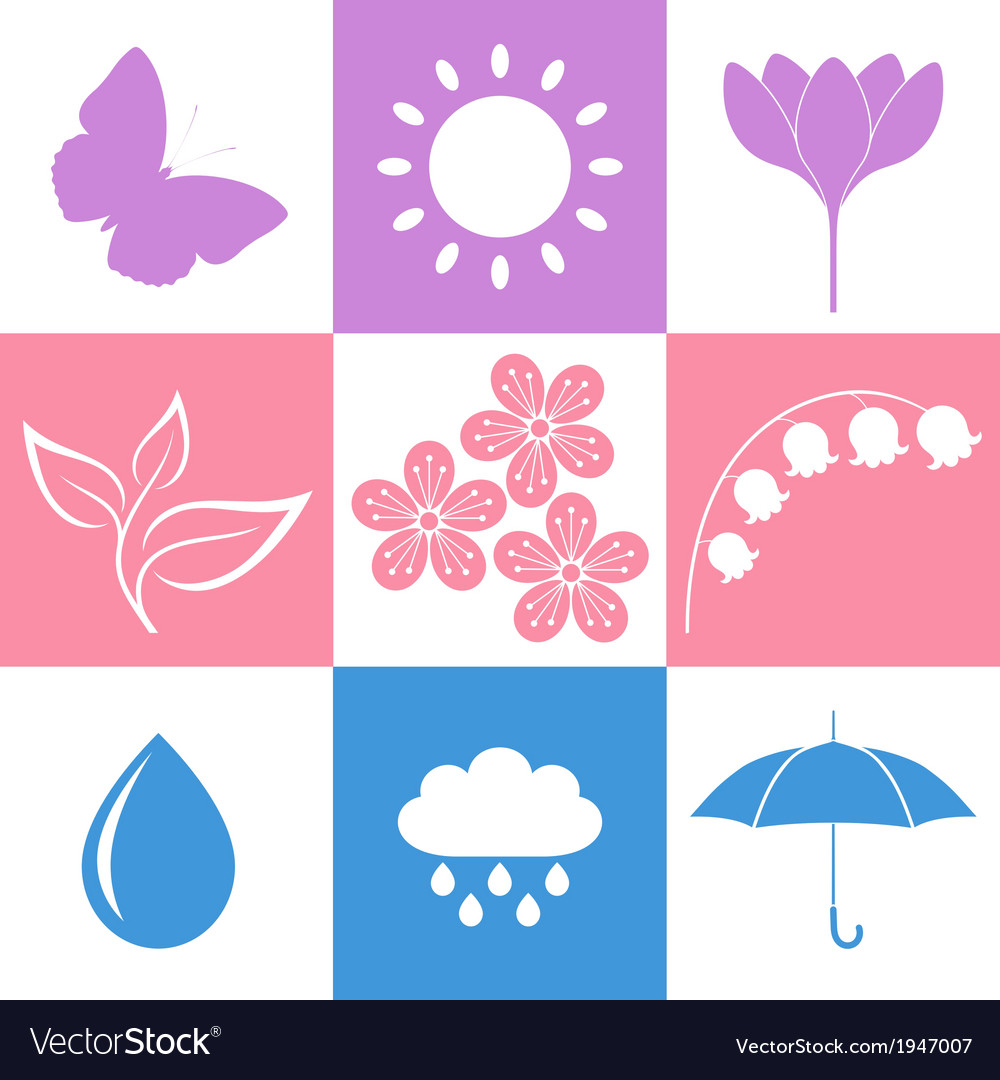 Spring icon set vector | Price: 1 Credit (USD $1)