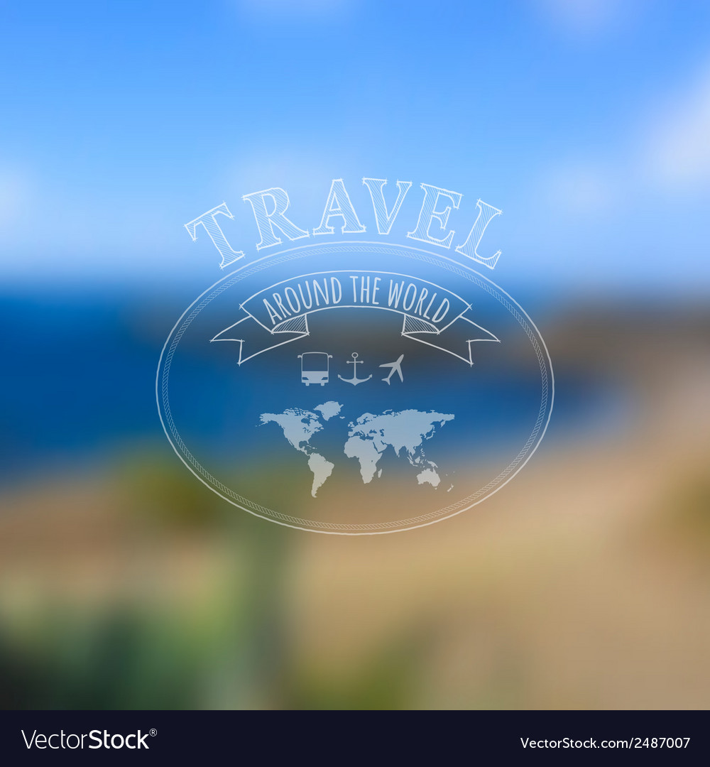 Travel label on blurred sea beach background vector | Price: 1 Credit (USD $1)