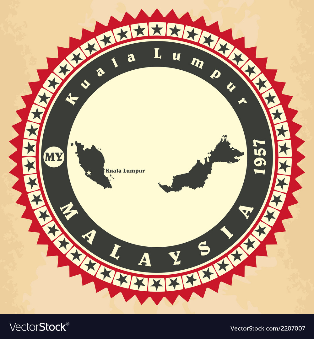 Vintage label-sticker cards of malaysia vector | Price: 1 Credit (USD $1)