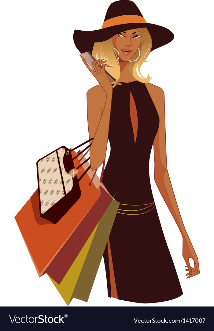 Woman shopping vector | Price: 3 Credit (USD $3)
