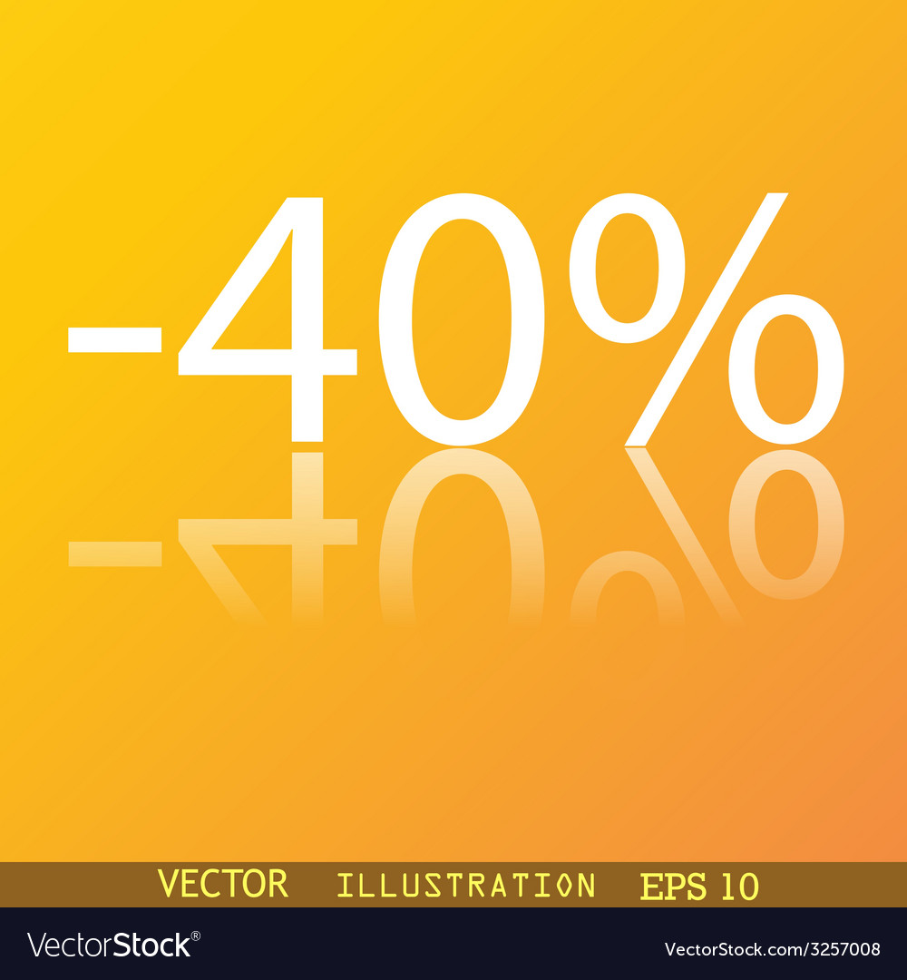 40 percent discount icon symbol flat modern web vector | Price: 1 Credit (USD $1)