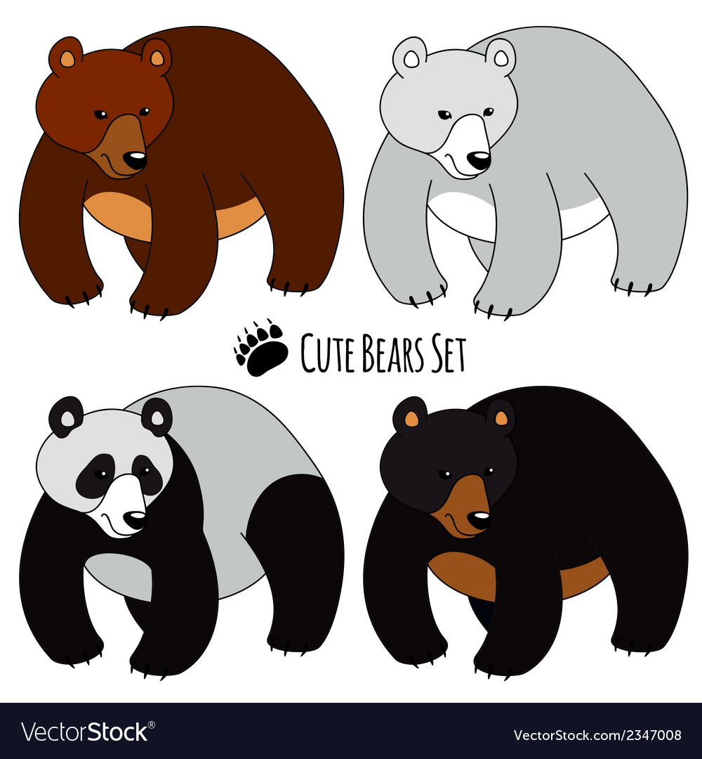Bears set vector | Price: 1 Credit (USD $1)