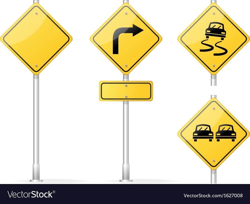 Blank traffic sign yellow vector | Price: 1 Credit (USD $1)