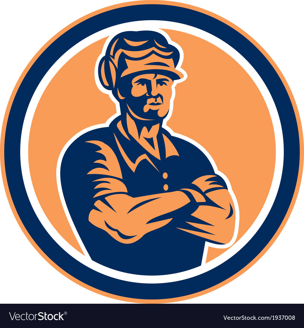 Builder carpenter arms crossed retro vector | Price: 1 Credit (USD $1)