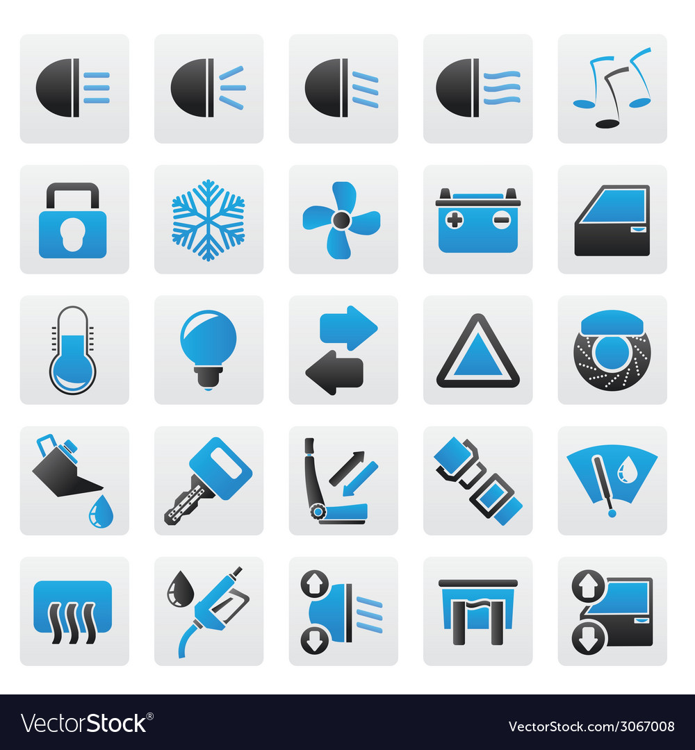 Car interface sign and icons vector | Price: 1 Credit (USD $1)