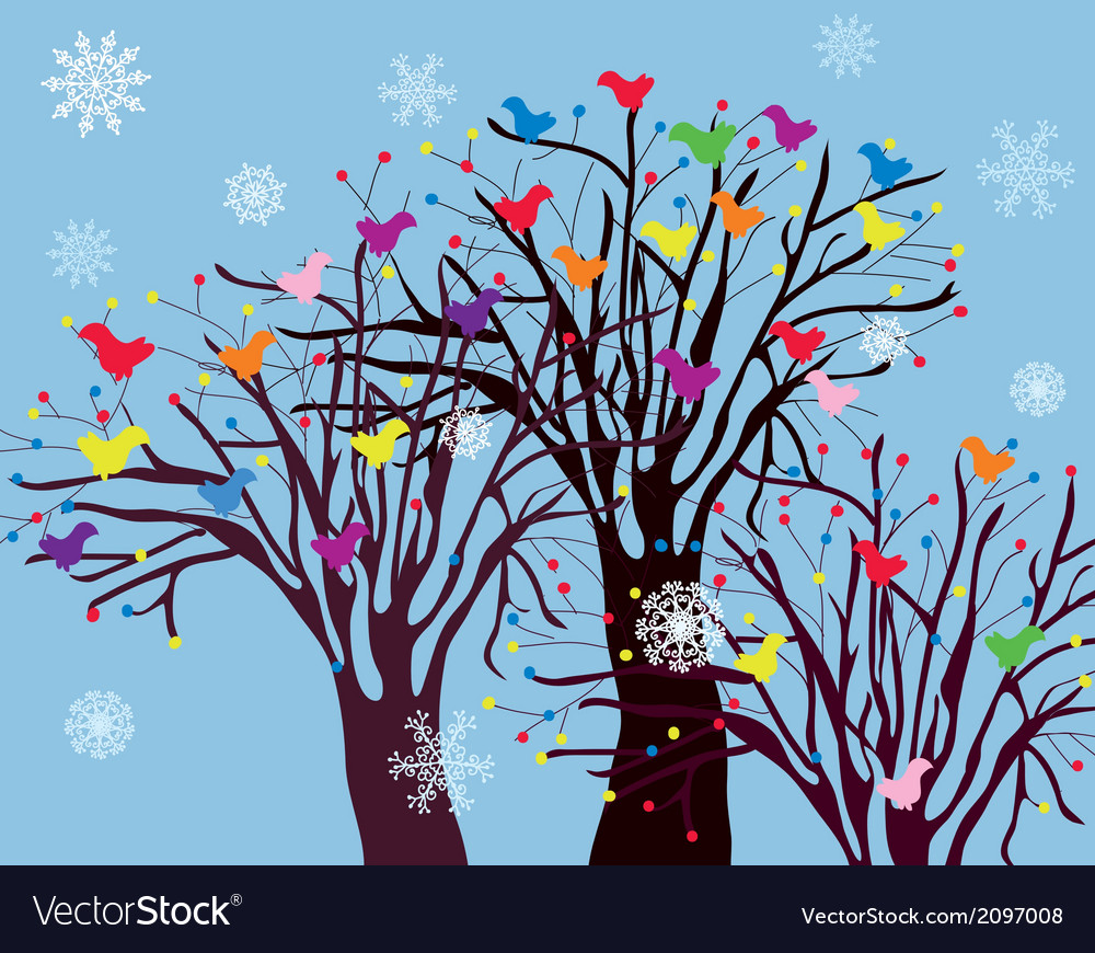 Christmas background with trees birds and snow vector | Price: 1 Credit (USD $1)
