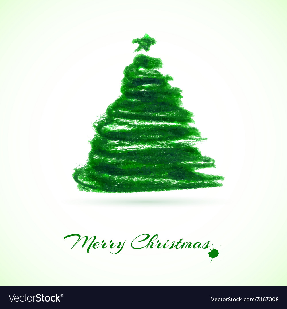 Christmas card with christmas tree vector | Price: 1 Credit (USD $1)