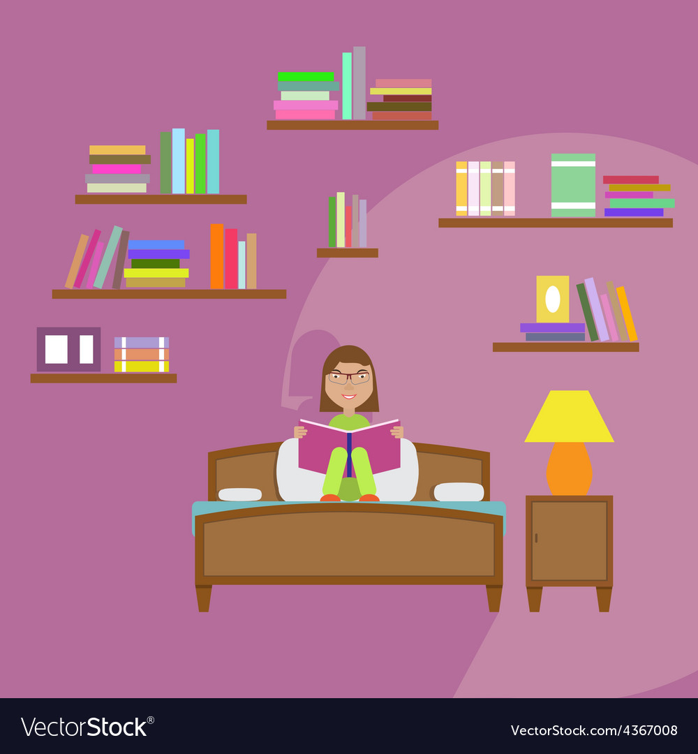 Girl reading book sitting on the bed vector | Price: 1 Credit (USD $1)