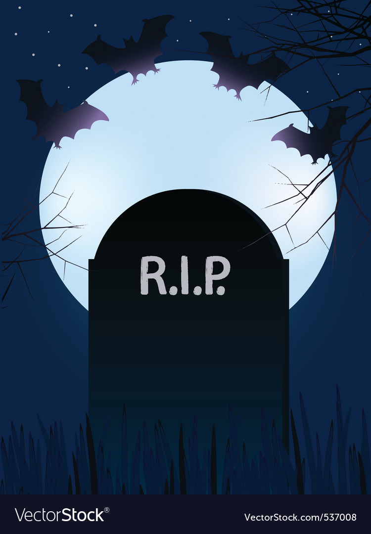 Gravestone with rest in peace with full moon and b vector | Price: 1 Credit (USD $1)
