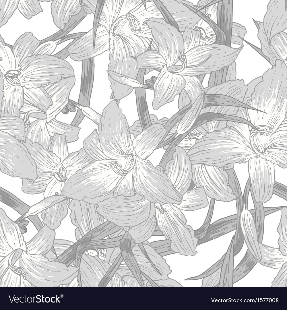 Seamless monochrome floral background with lilies vector   Price: 1 Credit (USD $1)