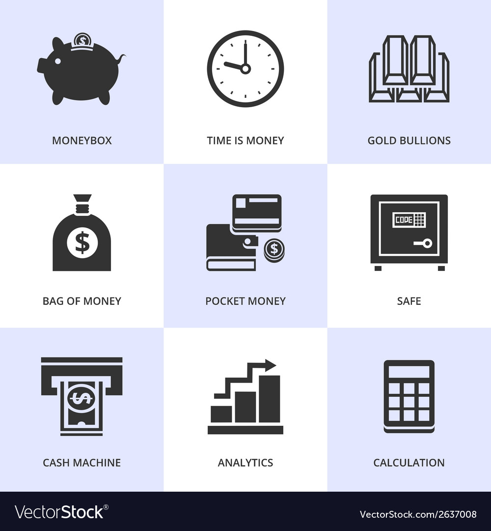 Set of black finance and money icons vector | Price: 1 Credit (USD $1)