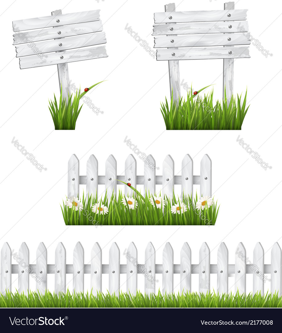 Set of white wooden signs and a fences with grass vector | Price: 1 Credit (USD $1)