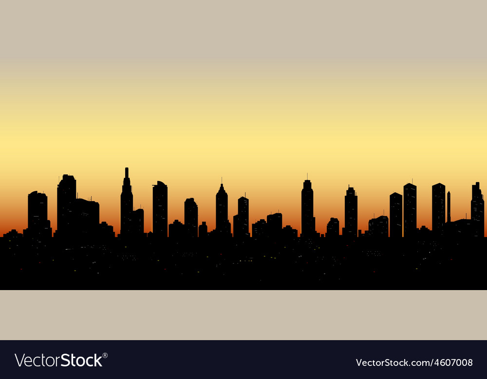 Skyline aerial view at sunset with skyscrapers vector | Price: 1 Credit (USD $1)