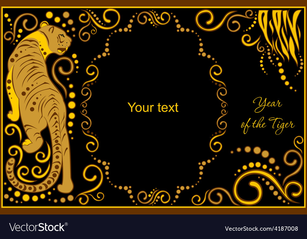 Template with sign chinese horoscope tiger vector
