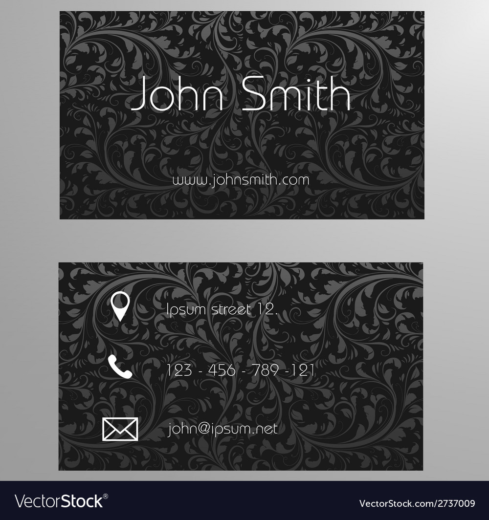 Business card template in black floral pattern vector | Price: 1 Credit (USD $1)