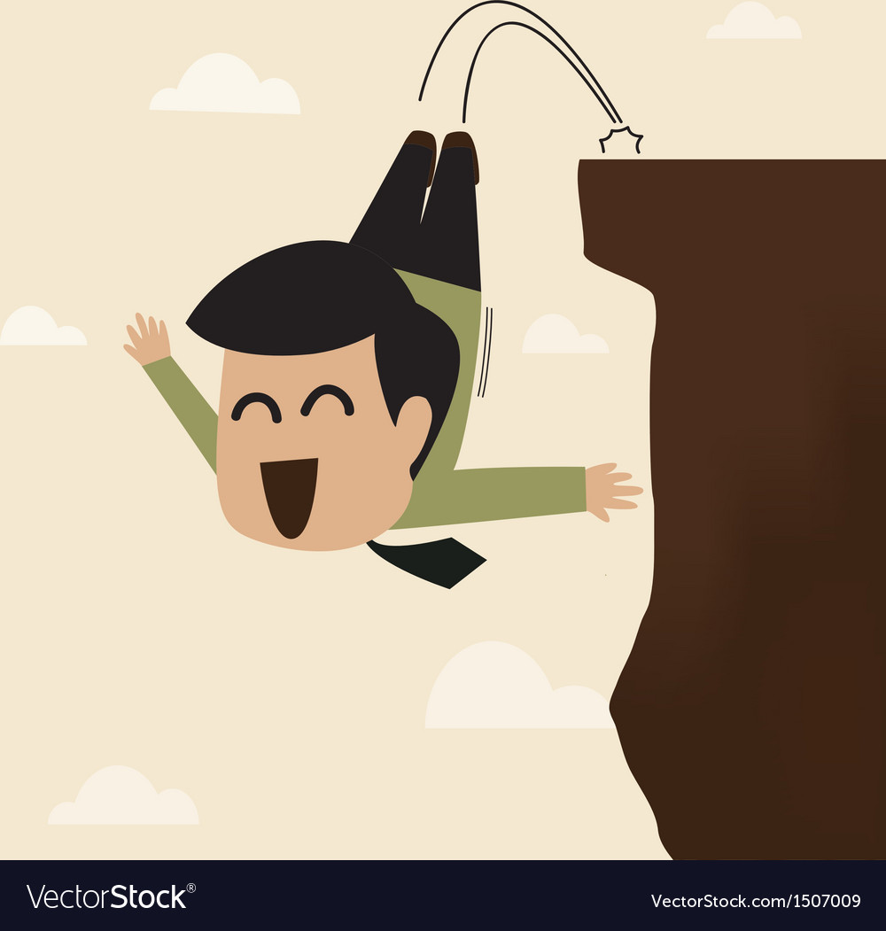 Businessman jump from a cliff vector | Price: 1 Credit (USD $1)