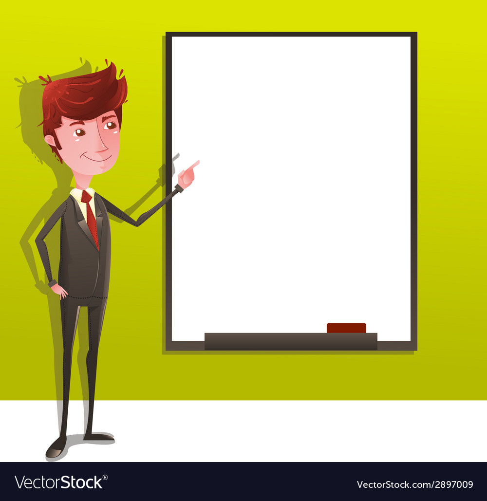 Businessman presentation with white board vector | Price: 1 Credit (USD $1)