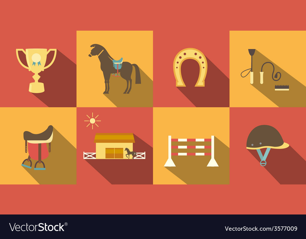Flat style horse icons vector | Price: 1 Credit (USD $1)