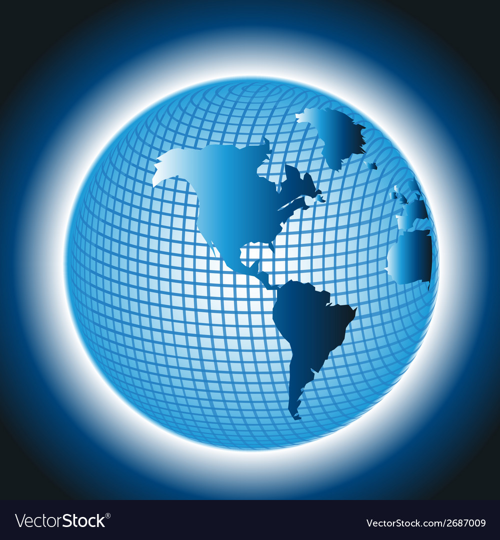 Globe grid design on blue background vector | Price: 1 Credit (USD $1)