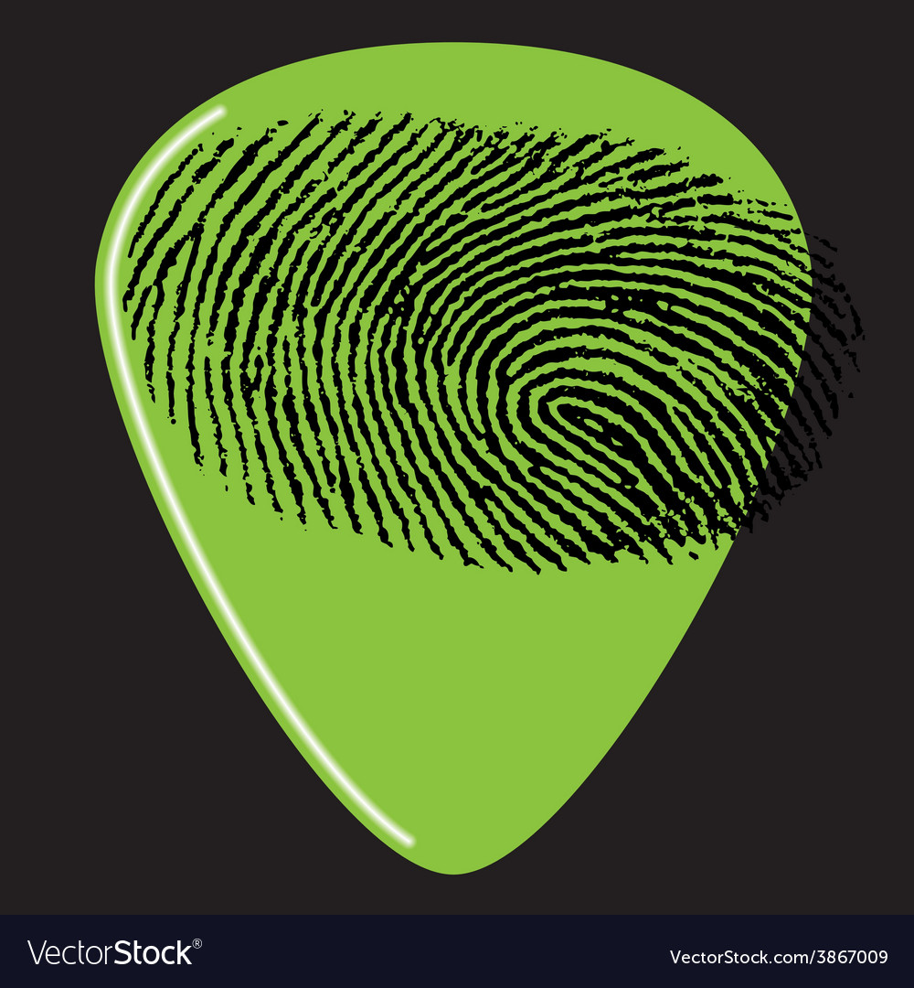 Guitar pick fingerprint green vector | Price: 1 Credit (USD $1)