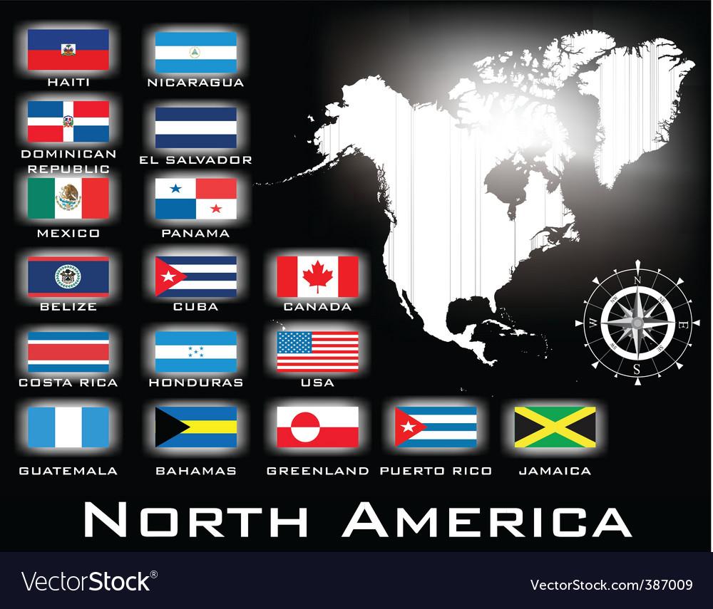 Map of north america vector | Price: 1 Credit (USD $1)
