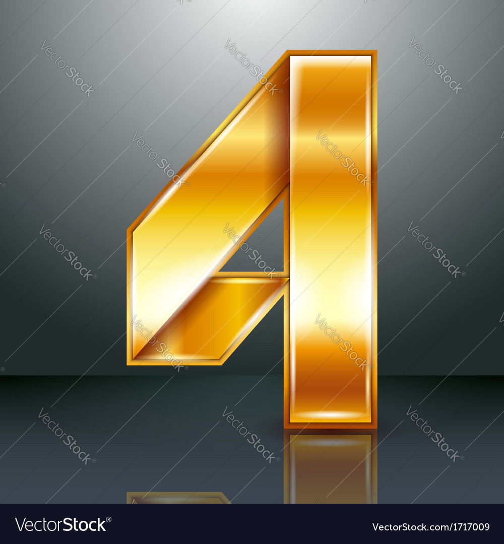Number metal gold ribbon - 4 - four vector | Price: 1 Credit (USD $1)