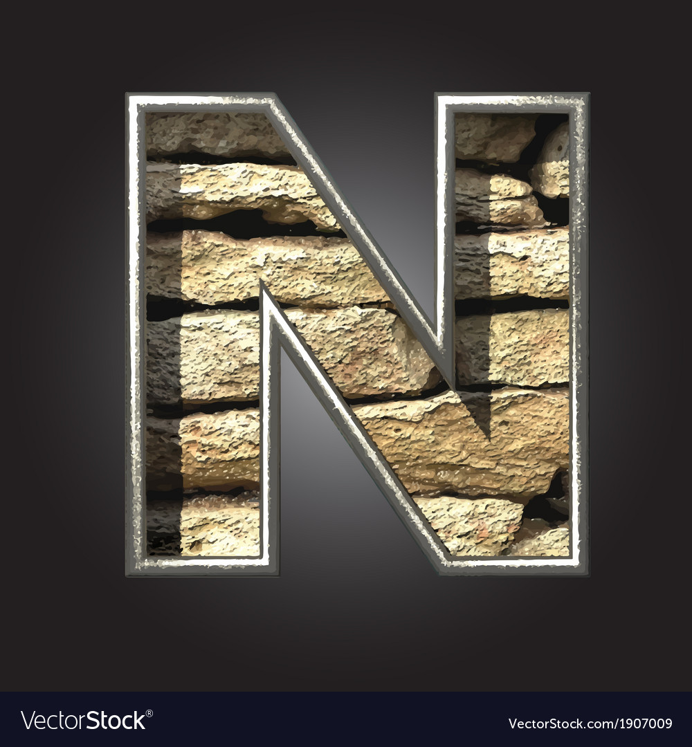 Old stone letter n vector | Price: 1 Credit (USD $1)