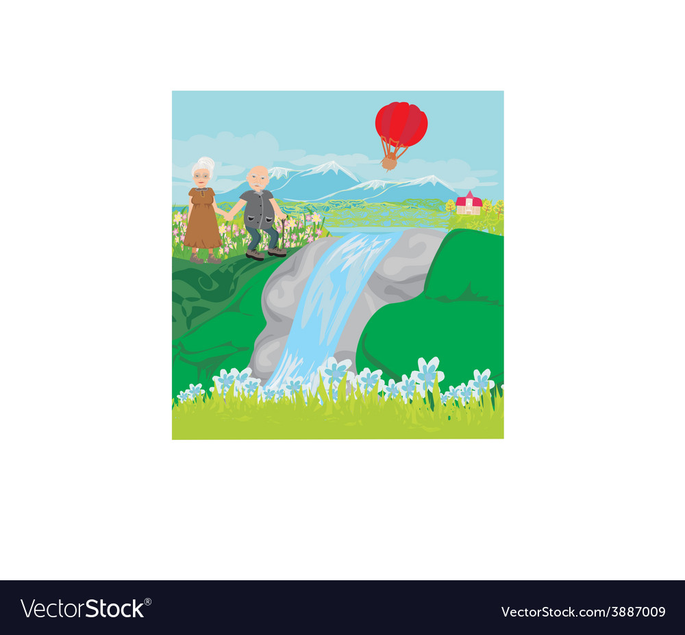 Senior couple walking in hills vector | Price: 1 Credit (USD $1)