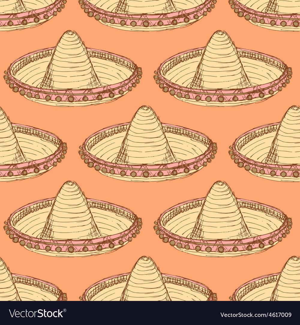 Sketch mexican sombrero in vintage style vector | Price: 1 Credit (USD $1)