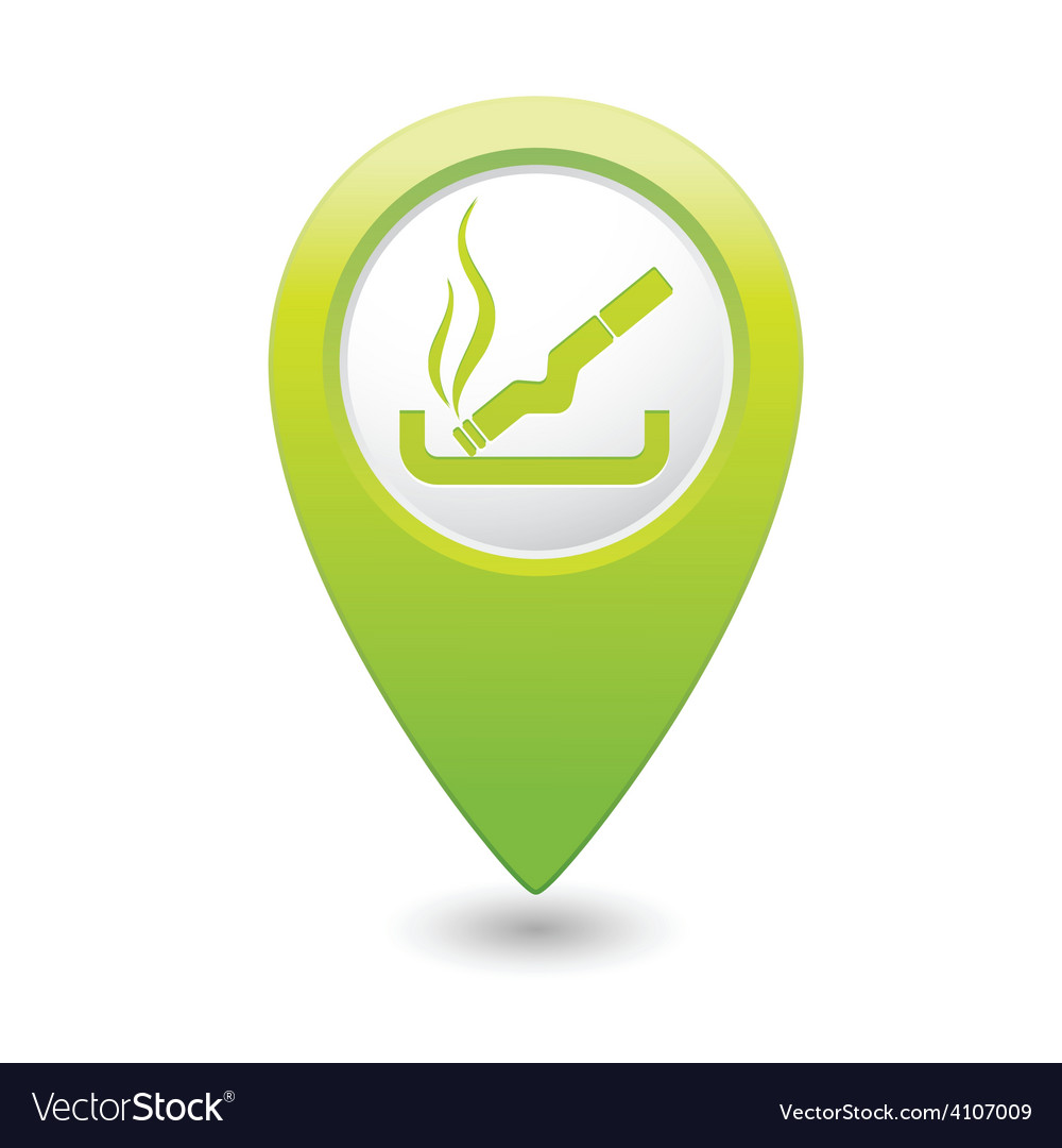 Smoking green map pointer vector | Price: 1 Credit (USD $1)