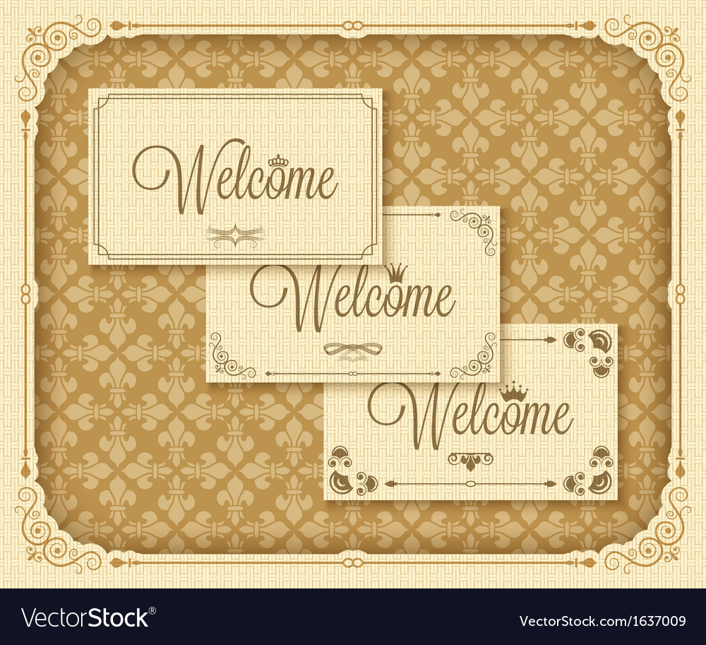 Vintage frame welcome vector | Price: 1 Credit (USD $1)