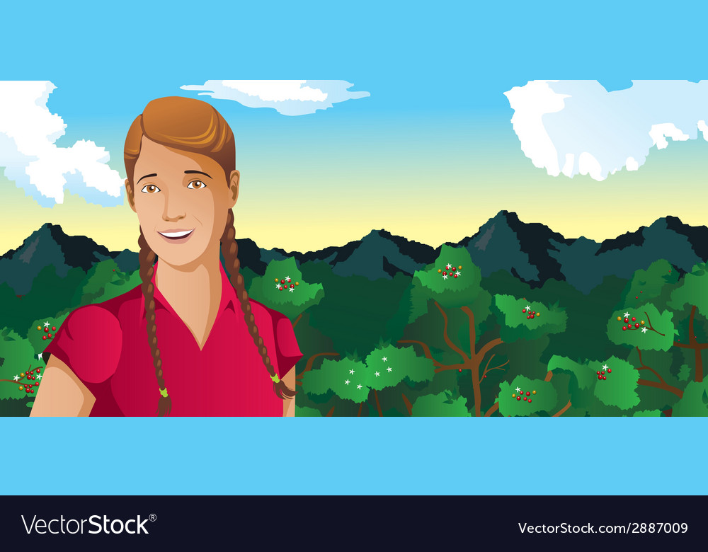 Woman outdoors coffee field vector | Price: 1 Credit (USD $1)