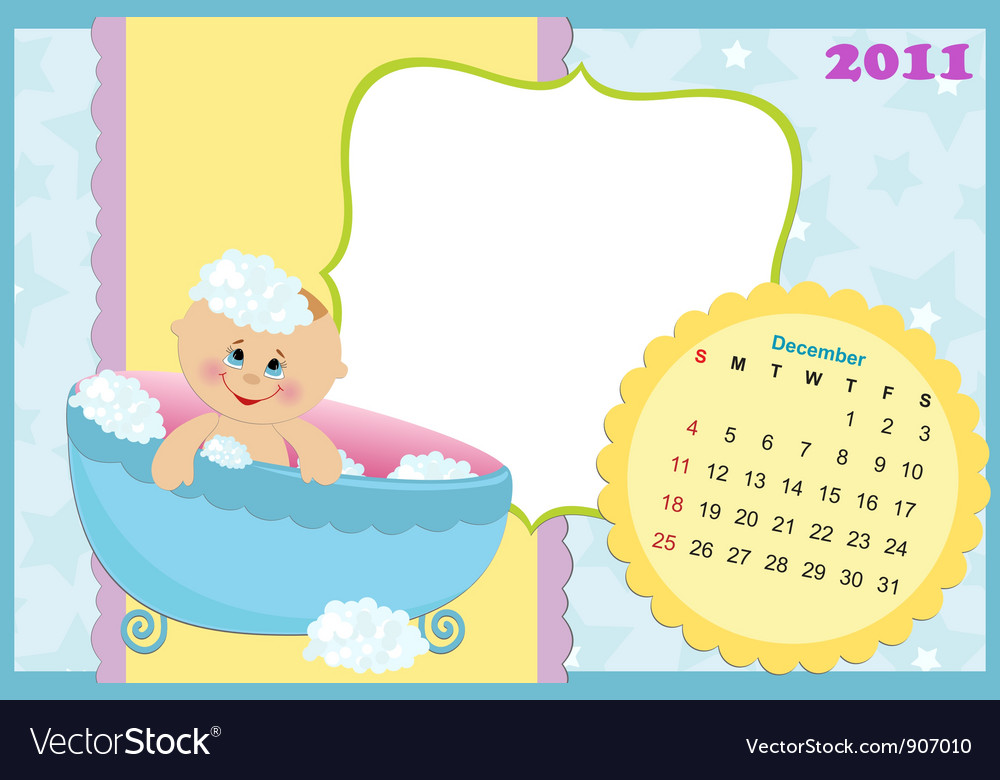 Babys calendar for december 2011 vector | Price: 1 Credit (USD $1)